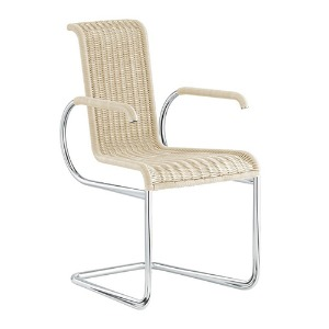 D22 CANTILEVER CHAIR WITH ARMRESTS - CREAM WHITE