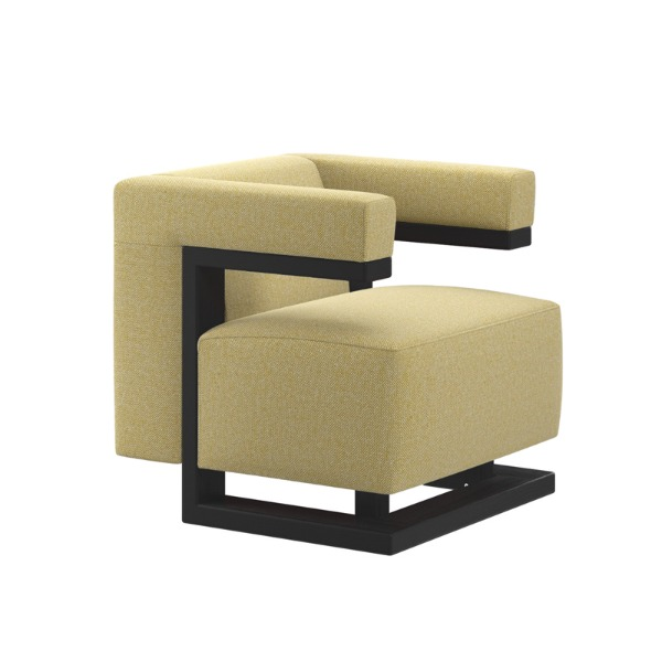 F51 ARMCHAIR - BLACK LACQUERED / HALLINGDAL 65 ( YELLOW)