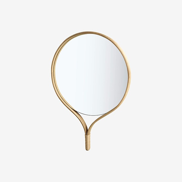 RACQUET MIRROR ROUND - SOAP TREATED OAK