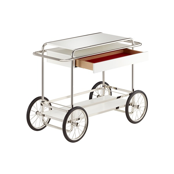 M4RS CONSOLE TROLLEY WITH DRAWER - WHITE (WITH BOTTLE HOLDER)