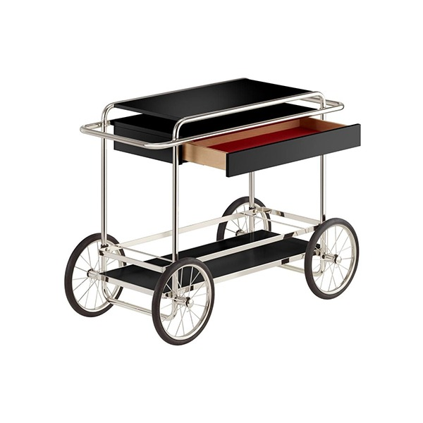 M4RS CONSOLE TROLLEY WITH DRAWER - BLACK (WITH BOTTLE HOLDER)