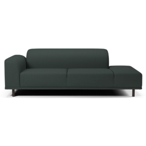 HANNAH 2 1/2 SEATER SOFA WITH OPEN END RIGHT NANTES - DARK GREEN