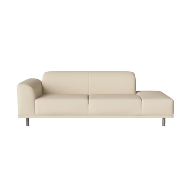 HANNAH 2 1/2 SEATER SOFA WITH OPEN END RIGHT - QUATTRO LEATHER / ICE