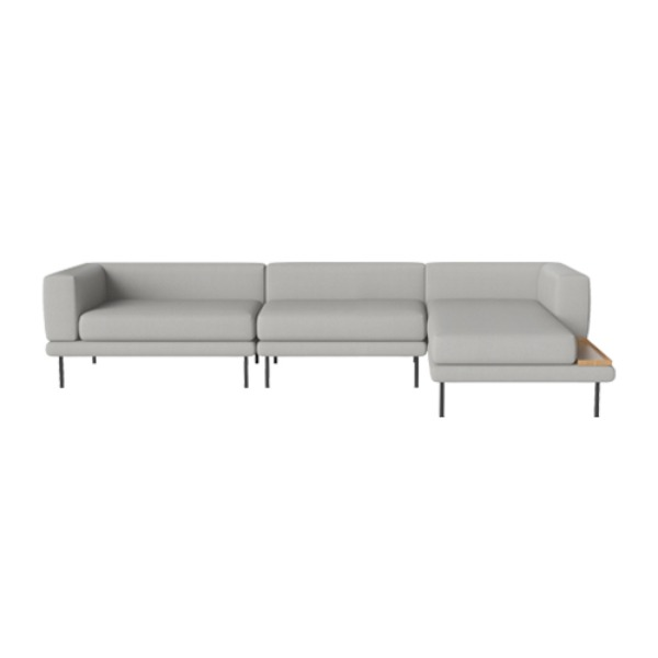 JEROME 3 MODULES WITH CHAISE LONGUE TO THE RIGHT - ASCOT / LIGHT GREY