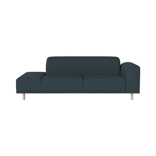 HANNAH 2 1/2 SEATER SOFA WITH OPEN END LEFT NANTES - PETROL