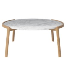 MIX COFFEE TABLE LARGE - MARBLE / OAK (GRAY, WHITE) (디스플레이 상품)