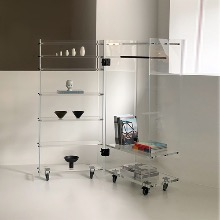 Knud Holscher Roller Cabinet - Plexiglass (Shelves in left side, Clothe rack + 1 shelf in right side)